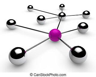 cromo, púrpura, red, 3d