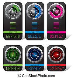 cronómetro, digital, compás