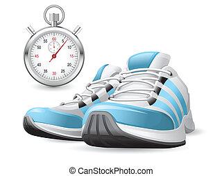 cronómetro, zapatos corrientes