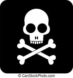 crossbones, -, cráneo, icono