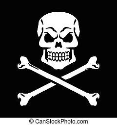 crossbones de cráneo, y