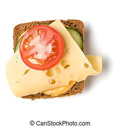 Crostini boca abierta aislada en el primer plano de fondo blanco. Canape vegetariano con queso. La mejor vista. Planta. Aperitivo tártaro.