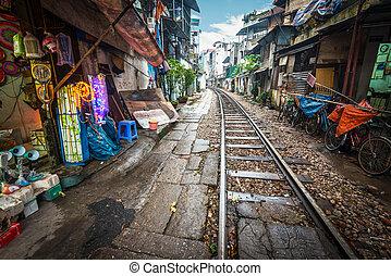 cruce, vietnam., calle, ferrocarril, ciudad