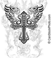 Crucero tribal con ilustración de alas