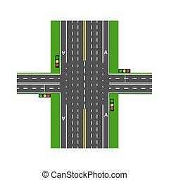 Cruces. Con la ayuda de los semáforos. Intercambio de carretera. Lawns. Vista desde arriba. Ilustración