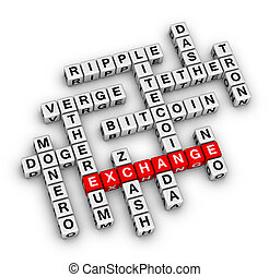 Crucigrama de intercambio de criptomonedas.