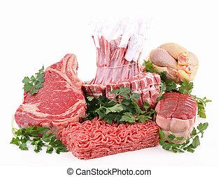 crudo, surtido, carne, aislado