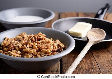 crujiente, nueces, ingredientes