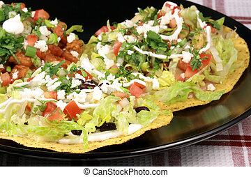 crujiente, tostadas, mexicano