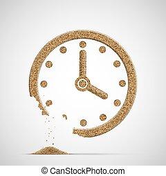 crumble., dial del reloj, sand., reloj, hecho