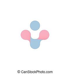 Cruz abstracta azul y rosa. El símbolo vector de salud de la mujer y el hombre. Embarazo, logotipo de parto. Aislado más icono de fondo blanco.