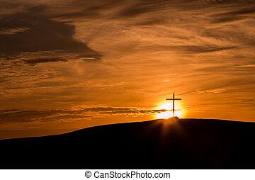 cruz, atrás, sol
