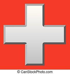 Cruz blanca biselada
