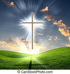 Cruz cristiana contra el cielo