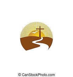 cruz, fuego, logo., espíritu, cristiano, iglesia, santo, symbols., jesús