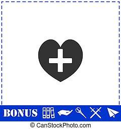 cruz, icono, hogar, plano, salud