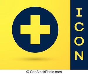 Cruz Médica Azul en el icono del círculo aislado en el fondo amarillo. El símbolo médico de primeros auxilios. Ilustración de vectores