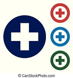 Cruz Médica Azul en icono círculo aislado en fondo blanco. El símbolo médico de primeros auxilios. Pon el icono de color en los botones del círculo. Ilustración de vectores