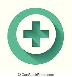Cruz Médica Blanca en el icono del círculo aislado con sombra larga. El símbolo médico de primeros auxilios. Botón de círculo verde. Ilustración de vectores