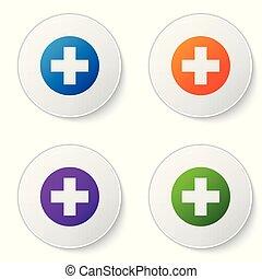 Cruz Médica de color en el icono del círculo aislado en el fondo blanco. El símbolo médico de primeros auxilios. Pon el icono de color en los botones del círculo. Ilustración de vectores