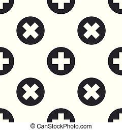Cruz Médica Gris en el icono del círculo aislado patrón de fondo blanco. El símbolo médico de primeros auxilios. Ilustración de vectores