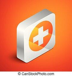 Cruz Médica isométrica en el icono del círculo aislado en el fondo naranja. El símbolo médico de primeros auxilios. Botón cuadrado de plata. Ilustración de vectores