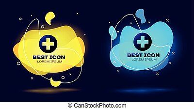 Cruz Médica Negra en el icono del círculo aislado. El símbolo médico de primeros auxilios. Un conjunto de formas geométricas de color líquido abstracto. Ilustración de vectores