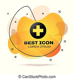 Cruz Médica Negra en el icono del círculo aislado en el fondo blanco. El símbolo médico de primeros auxilios. Pancarta de color fluido. Ilustración de vectores