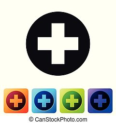 Cruz Médica Negra en el icono del círculo aislado en el fondo blanco. El símbolo médico de primeros auxilios. Pon icono en botones cuadrados de color. Ilustración de vectores