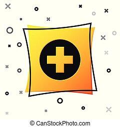 Cruz Médica Negra en el icono del círculo aislado en el fondo blanco. El símbolo médico de primeros auxilios. Botón cuadrado amarillo. Ilustración de vectores