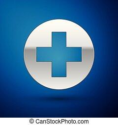Cruz Médica Plateada en el icono del círculo aislado en el fondo azul. El símbolo médico de primeros auxilios. Ilustración de vectores