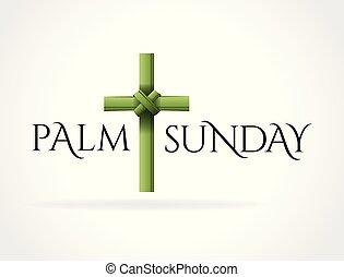 cruz, palma, cristiano, tema, domingo, ilustración