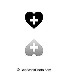 cruz, salud, plano, icono, hogar