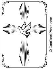 Cruz y paloma simbólica. El emblema de la iglesia. Ilustración de vectores para el diseño.
