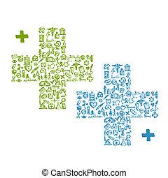 Cruza con iconos médicos para tu diseño