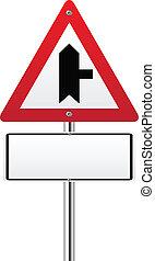 Cruzadas advirtiendo señal de carretera principal