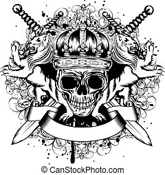 cruzado, corona, espadas, cráneo, leones