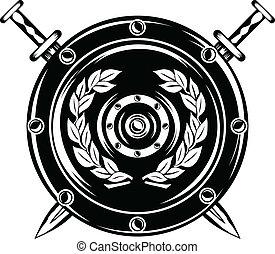 cruzado, espadas, protector