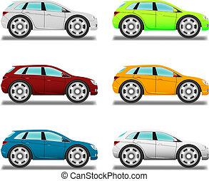 Cruzado. Un coche de dibujos animados con ruedas grandes, seis colores.