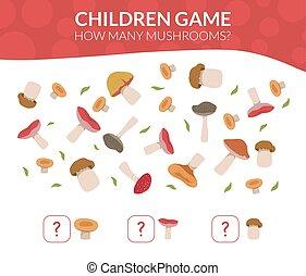 ¿Cuántos hongos, juego de conteo educativo para ilustración de vectores de niños