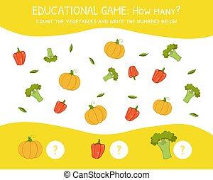 ¿Cuántos juegos de educación para niños de preescolar, desarrollo de habilidades matemáticas, contar los vegetales y escribir el número por debajo de la ilustración vectorial
