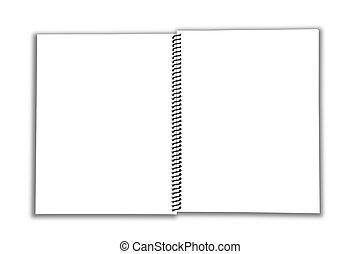 cuaderno, abierto, espiral, blanco