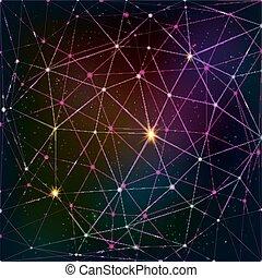 cuadrícula, cósmico, resumen, triángulo, plano de fondo