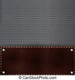 cuadrícula, metal, plano de fondo, marrón, cuero
