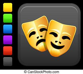 cuadrado, botón, máscaras, internet, comedia, tragedia, icono