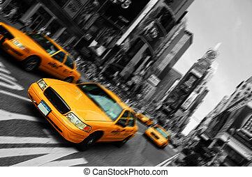 cuadrado, movimiento, taxi, mancha, ciudad, épocas, york, foco, nuevo