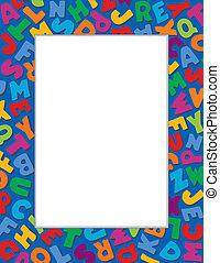 Cuadro alfabeto, fondo azul