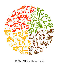 Cuadro de comida saludable, boceto para su diseño