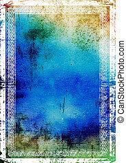 Cuadro de frontera elegante: fondo texturizado abstracto con patrones azules, verdes y marrones