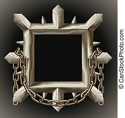 Cuadro de metal oxidado con cadena